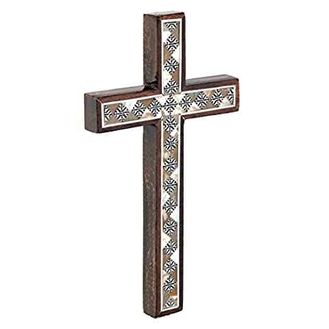 Leolana Mother Of Pearl Inlaid 100% Handmade Wall Cross, Classic 7 Inch - 17.8cm - Mother Of Pearl Wall Art