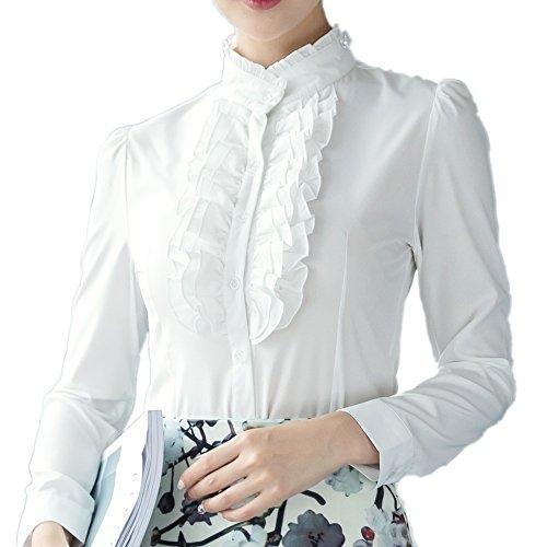 Ruffle Collar Stand Shirt (StarDream Women Frilly Stand Collar Victorian Ruffle Chiffon Career OL Slim Blouse Shirt)