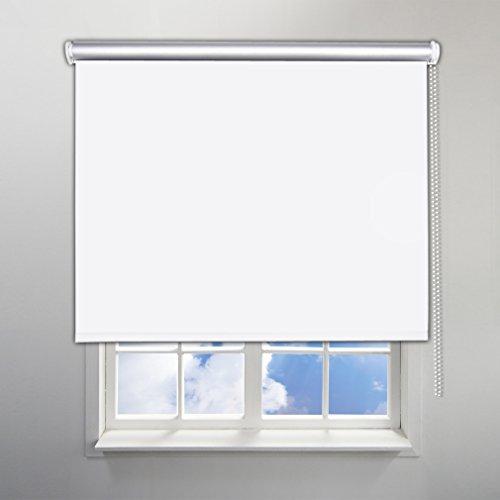 SHINY HOME® Klemmrollo Rollo Verdunkelungsrollo mit Klemmträgern Lichtundurchlässig für Fenster ohne Bohren Klemmfix Sonnenschutzrollo 80x175cm Weiß