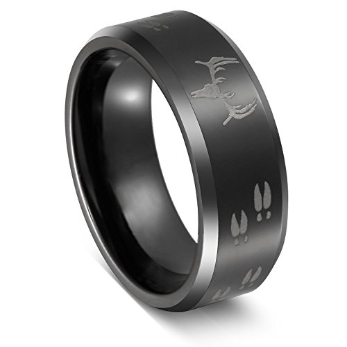 Black Tungsten Deer Antler Rings for Men Beveled Edge Comfort Fit - Ring Elk