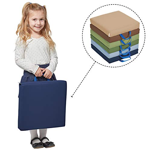 "ECR4Kids SoftZone Floor Cushions with Handles, 2"" Deluxe Foam, Square, Earthtone, (6-Pack)"