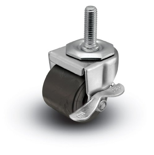 Shepherd-00-Series-2-Diameter-Polyolefin-Log-Wheel-Swivel-Caster-with-Side-Lock-Brake-12-Diameter-x-1-12-Length-UNC13-Threaded-Stem-300-lbs-Capacity-Zinc-Finish