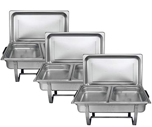 - Tiger Chef 8 Quart Full Size Stainless Steel Chafer 2 Half Size Chafing Food Pans and Cool-Touch Plastic on top (3, Full Size with 1/2 Size Inserts)