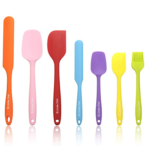 Silicone Spatula 7-piece Set, Umite Chef Mini Rubber Spatula Set-Versatile Tools Created for Baking and Mixing-One Piece Design, Non-Stick & Heat Resistant-Stainless Steel Core - Spatula Mixing