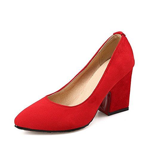 AgooLar Damen Spitz Zehe Ziehen auf Mattglasbirne Hoher Absatz Pumps Schuhe Rot
