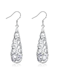 J.Rosée Jewelry Sterling Silver hollowed-out earrings with Cubic Crystal Zirconia