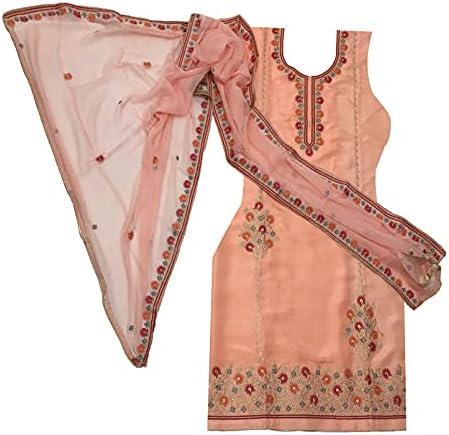 Lxora Women's Uppada Silk Unstitched Punjabi Suit (MK-EMB-5B-00022_Peach)
