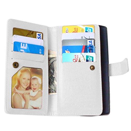UBMSA-Neue Luxus-Leder-Mappen-Schlag-Standplatz-Fall-Abdeckung Taschen and Schalen f¨¹r LG G4 [Eingebaute 9 Kreditkarten Slots]