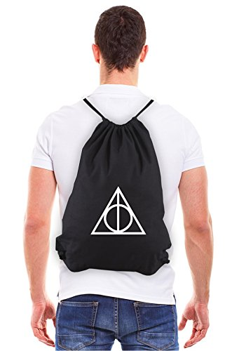 Deathly Hallows Harry Potter Eco-Friendly Draw String Bag in Black & White