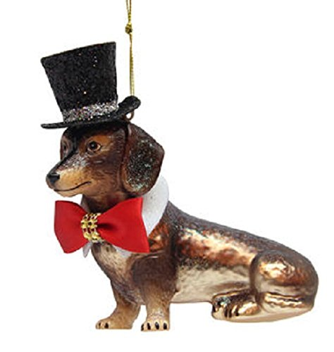 December Diamonds Dachshund with Black Top Hat Glass Christmas Ornament 7980576