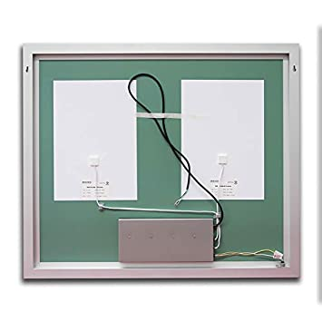 B C Crystal Super Slim Bathroom Mirror 48 x36 Vertical or Horizontal LED Backlit Polished Edge Frameless Defogger Dimmer Touch Switch Copper Free Silver Backed MC044836