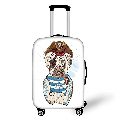 (Travel Luggage Cover Suitcase Protector,Pug,Pirate Pug Conqueror of the Seas Pipe Skulls and Bones Hat Striped Sleeveless T Shirt Decorative,Brown Blue,for Travel)