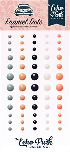 Echo Park Paper Company JM153028 Just Married Enamel Dots, Navy, Pink, Coral, Cream, Teal, Gold