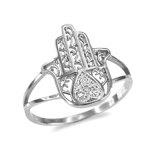 (10k White Gold Diamond Pave Heart Filigree Hamsa Ladies Ring (Size 8))