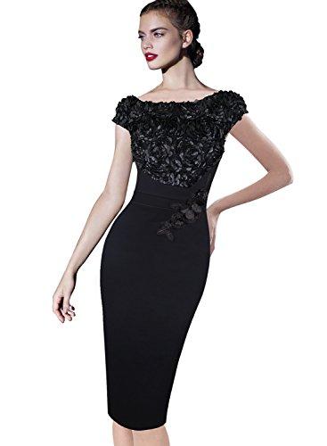Vfemage Womens Elegant Floral Applique Cocktail Party Bridesmaid Dress 3997 BLK 12