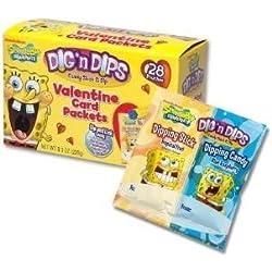 SpongeBob Squarepants Dig 'n Dips Valentine Card Packets - 52 Pouches Total