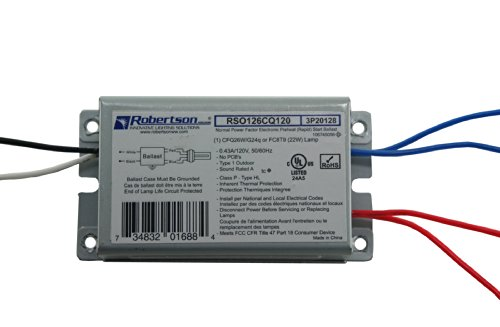 ROBERTSON 3P20128 Fluorescent eBallast for 1 CFQ26W/G24q CFL Lamp, Preheat Rapid Start, 120Vac, 50-60Hz, Normal Ballast Factor, NPF, Model RSO126CQ120 AA (Replaces Model RSO126CQ120 -
