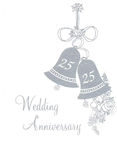 25th Wedding Anniversary Invitations, Silver Bells Silver Print 25 Count - 25th Bells