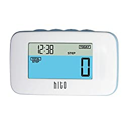 HITO 3D Motion Sensor Waterproof Pedometer w/ Colored LCD Multifunction display, Removable Clip