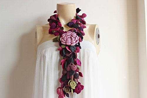 Leaf Crochet Scarf-Leaves Necklace Scarf-Multicolor Lariat Scarf-Necklace Lariat Scarf-Pink, Purple,Green Scarf-Vegan Scarf-2 pieces (2 Piece Lariat)