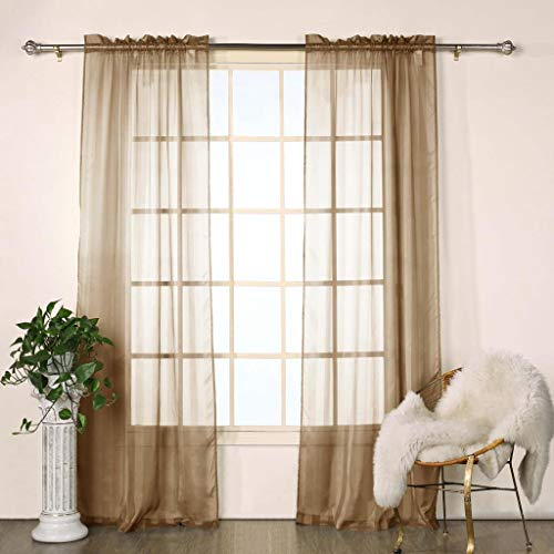 Duck River Textile Chianti Striped Linen Look Rod Pocket Window Curtain Drapes for Bedroom, Livingroom, Kids Room, Children, Nursery-Assorted Colors-Set of 2 Panels, 40 x 84 Inch, Chocolate, 2 Piece -