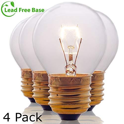 Oven Light Bulbs - 40 Watt Appliance Replacement Bulbs for Oven, Stove, Refrigerator, Microwave. Incandescent -High Temp G45 E26/E27 Socket. Medium Brass Lead-Free Base - 400 Lumens - Clear. 4 Pack