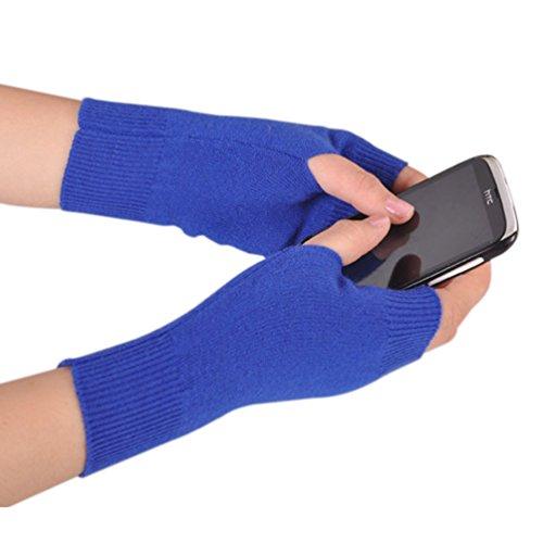Novawo Women Half Fingerless Elastic Gloves Knitting Thumb Hole Warm Gloves, Sapphire (Blue Fingerless Gloves)