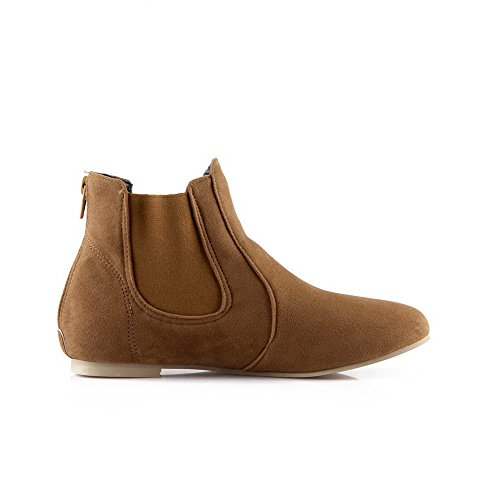 Allhqfashion Closed No Yellow Women's Solid Top Heel Frosted Boots Round Toe Low 1axSq1r
