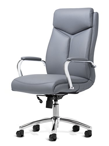 OFFICE FACTOR Leather Executive Rolling Swivel Chair with Chrome Metal Components, Comfortable Padded Armrests & Adjustable Gaslift (Gray)