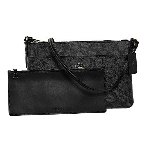 COACH Signature East West Crossbody with Pop-Up Pouch in Black Smoke