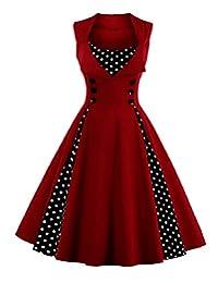 LACUS-CA Women's Retro Style Polka Dot Print Vintage Dress