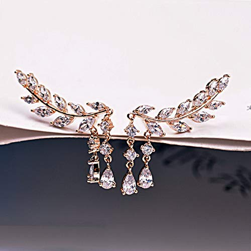 Wausa Women Fashion Crystal Rhinestone Leaves Tassel Ear Stud Earrings 1Pair | Model ERRNGS - 7552 |