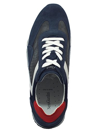 Nero Giardini Scarpe Sportive NeroGiardini per Uomo in Camoscio Blue e Grigio Colorado Osimo Jeans