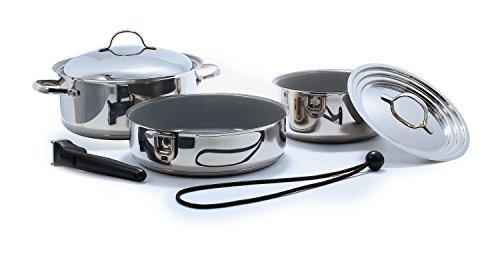 Camco 43925 Ceramic 7 Interest Nesting Cookware Set