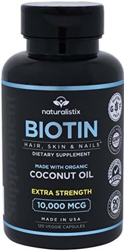 Naturalistix Biotin 10000mcg Liquid Vegan Capsules For Hair, Skin, Nails (Maximum Strength). Promotes Hair Growth, Healthy Skin, Strong Nails & Reduces Hair Loss; 120 Soft Capsules; Made In USA