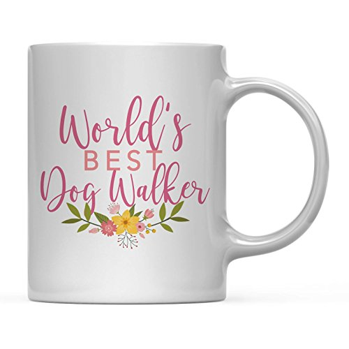 Andaz Press 11oz. Coffee Mug Gag Gift, World's Best Dog Walker, Floral Flowers Design, 1-Pack, Birthday Christmas Gift Ideas for ()