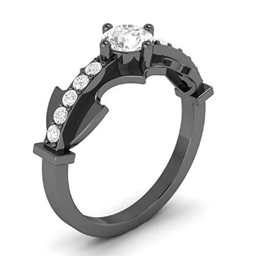 New 3.15ct White Diamond Round Cut Batman Engagement Wedding Ring in Full Black 925 Sterling Silver (5.5) by Venus Jewels (Image #1)