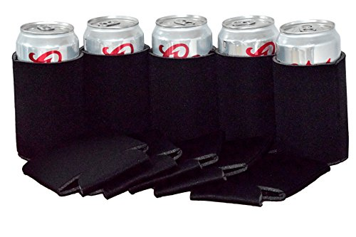 QualityPerfection 25 Black Party Drink Blank Beer Can Coolers(12,25,50,100 or 200 Bulk Pack),Soda Coolies Sleeves | Soft, Insulated Coolers | 30 Colors | Perfect For DIY Projects,Holidays,Events