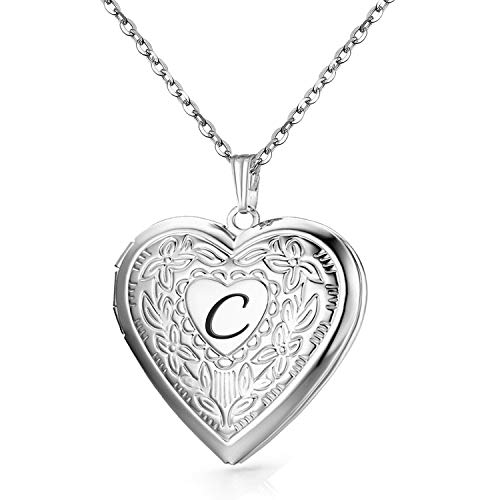 YOUFENG Locket Necklace That Holds Pictures Initial Alphabet A-Z Letter Pendant Necklace Platinum Plated Gifts for Women (C)
