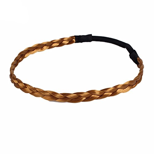 Mia Thick Braided Girls Fashion Hairpieces Twist Hair Band Headband Braids Elastic Stretch Hairpieces (Gold)