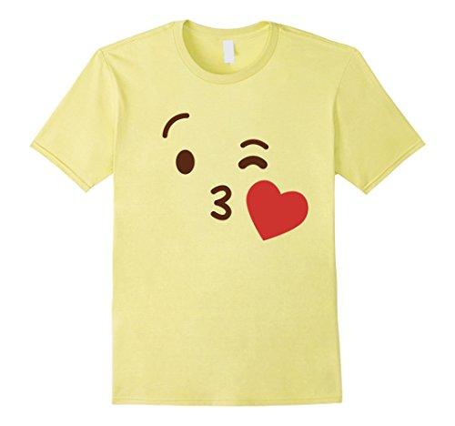 [Mens Emoji Group Costume Idea Shirt - Kiss Emoji Emoticon Medium Lemon] (Costume Ideas For Valentines Day)