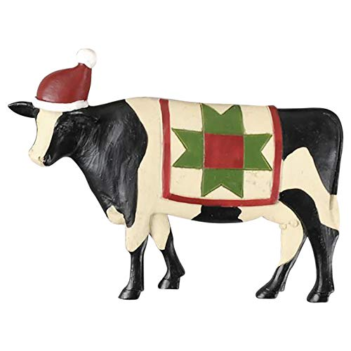 Cow Christmas Ornaments - Blossom Bucket Cow with Santa Hat