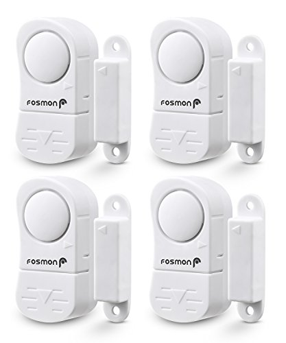 Fosmon Wireless Entry Alert Door Window Chime (4 Pack), Alarm Safety System [2 Function 90db Chime/Siren] Burglar Security Sensor for Home, Business, Garage ()