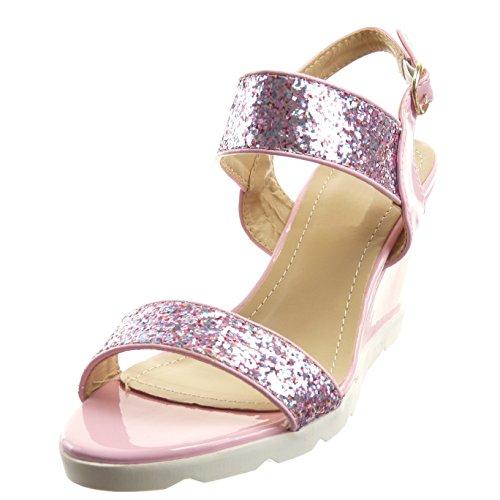 Sopily - damen Mode Schuhe Sandalen Offen Plateauschuhe glänzende Strass - Rosa