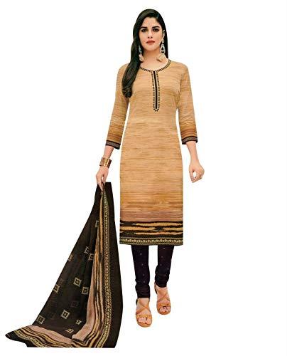 Ladyline Readymade Pure Cotton Printed Salwar Kameez with Churidar Pants (Size_44/ Beige)