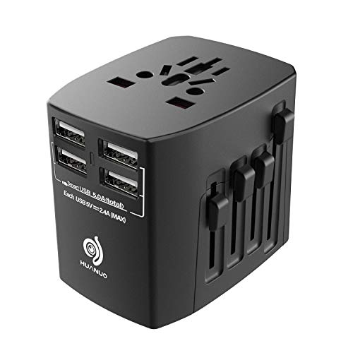 Travel Adapter - 2000W International Power Adapter with High Speed 2.4A 4xUSB European Adapter- Dual Fuse Universal Power Adapter for EU, US, UK, AU Covers Over 150 Countries