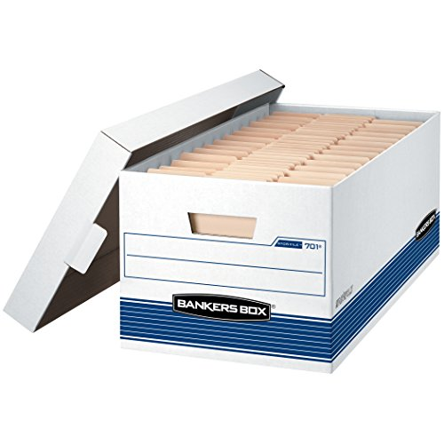 - Bankers Box STOR/FILE Medium-Duty Storage Boxes, FastFold, Lift-Off Lid, Letter, Case of 12 (00701), White/Blue