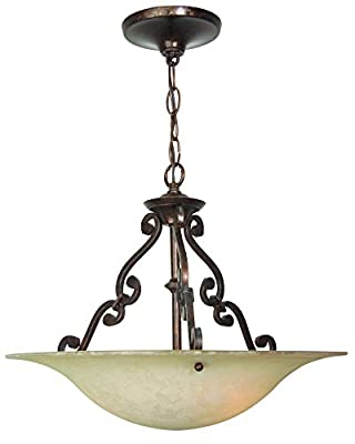 Jeremiah X1916-AG Toscana 3 Light Inverted Pendant Fixture with Antique Scavo Glass, Aged Bronze