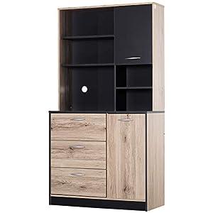 Armoire de cuisine multi-rangements 2 portes 3 tiroirs 3 étagères + grand plateau 90L x 39l x 169H cm bicolore chêne…