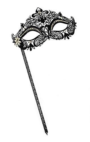 Simone Laser-Cut Metal Black Venetian Women's Masquerade Mask on a Stick
